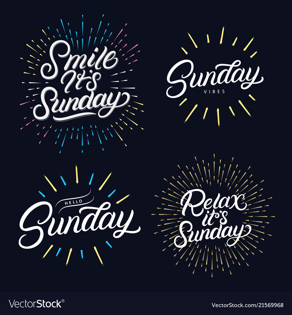 Sunday set hand written lettering quotes