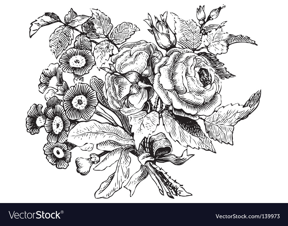Antique flowers engraving