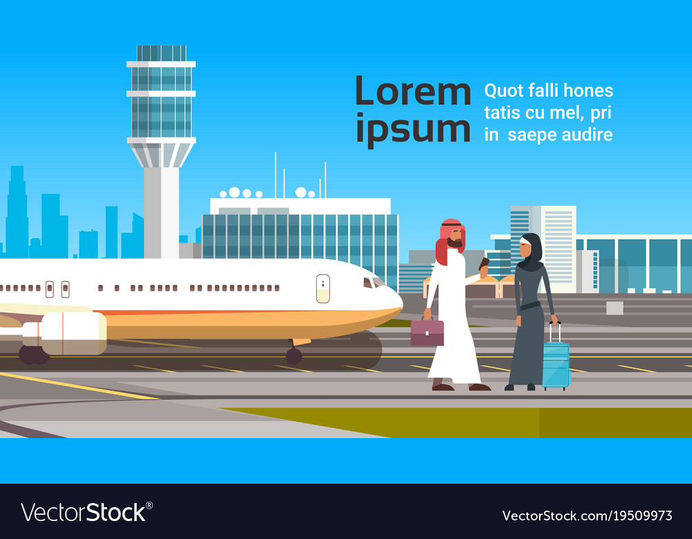 Arabic man and woman over modern airport