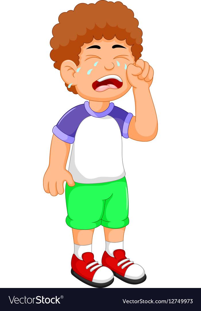 Cute little boy cartoon crying
