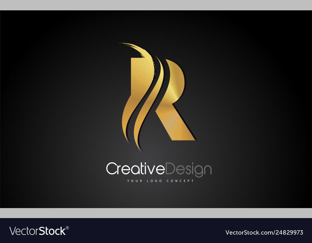 Gold metal r letter design brush paint stroke on