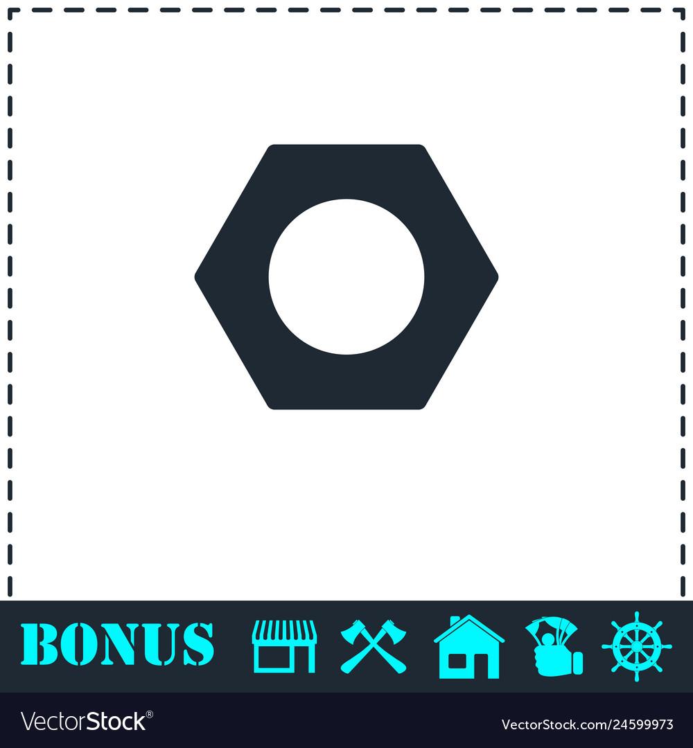 Hex nut icon flat