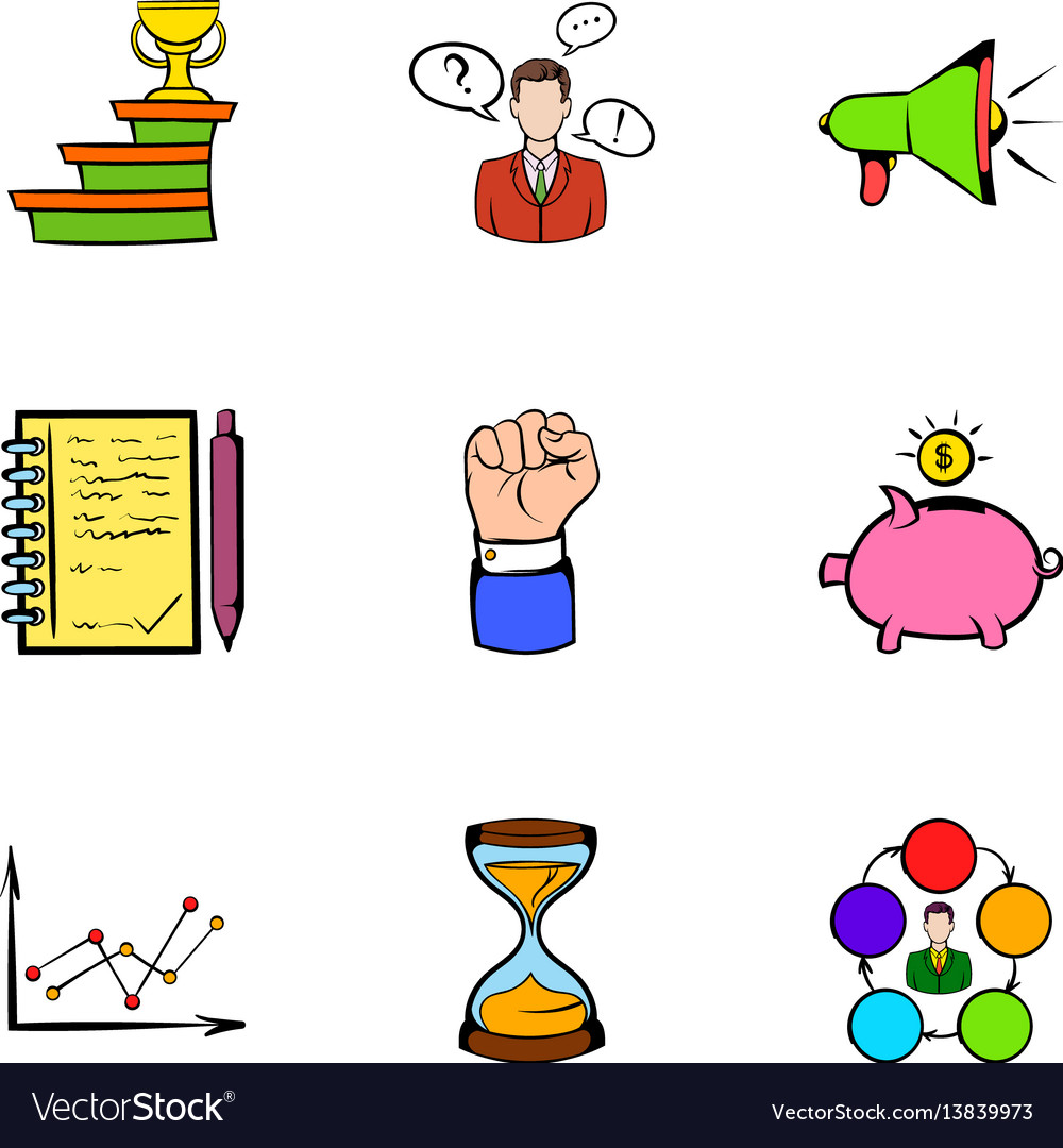Investing icons set cartoon style