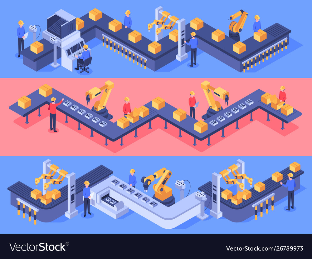 Isometric industrial factory automated line