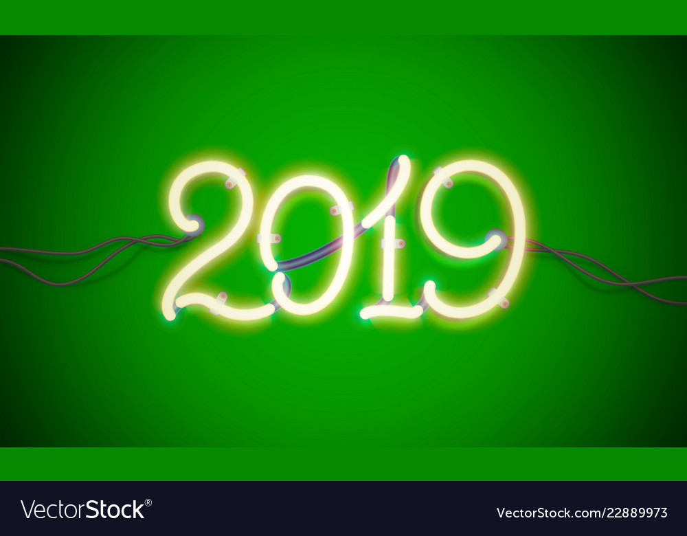 Neon sign new year 2019