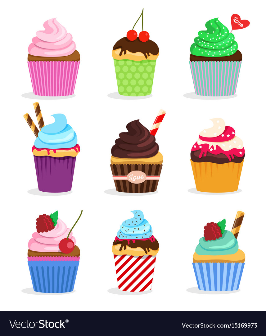Set cupcakes and muffins