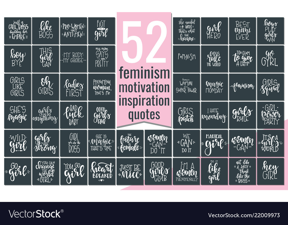 Set with hand drawn feminism typography poster or