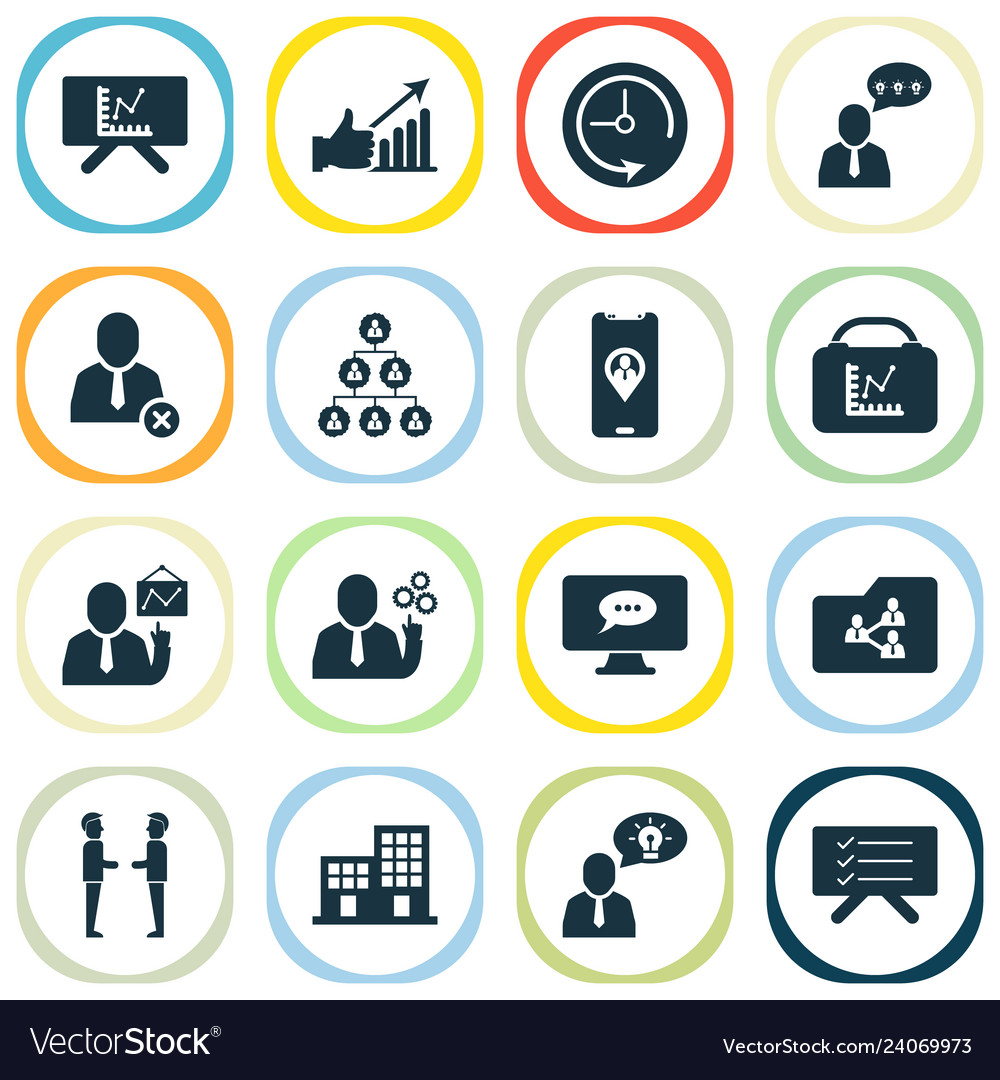 Work icons set with planning board hierarchy