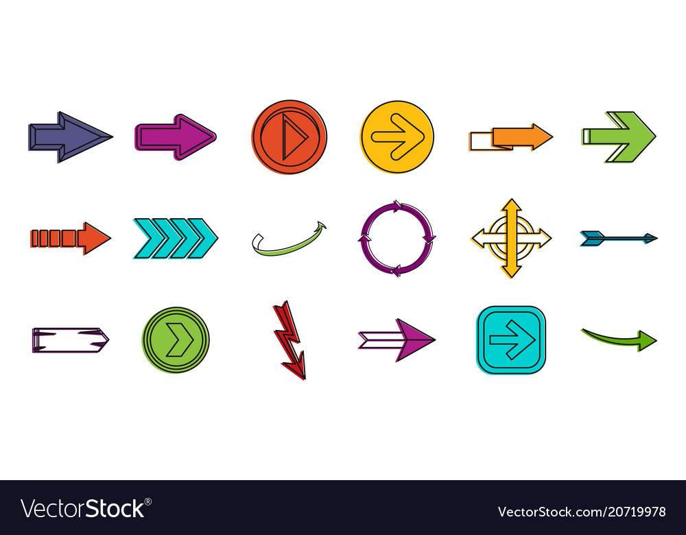 Arrows icon set color outline style