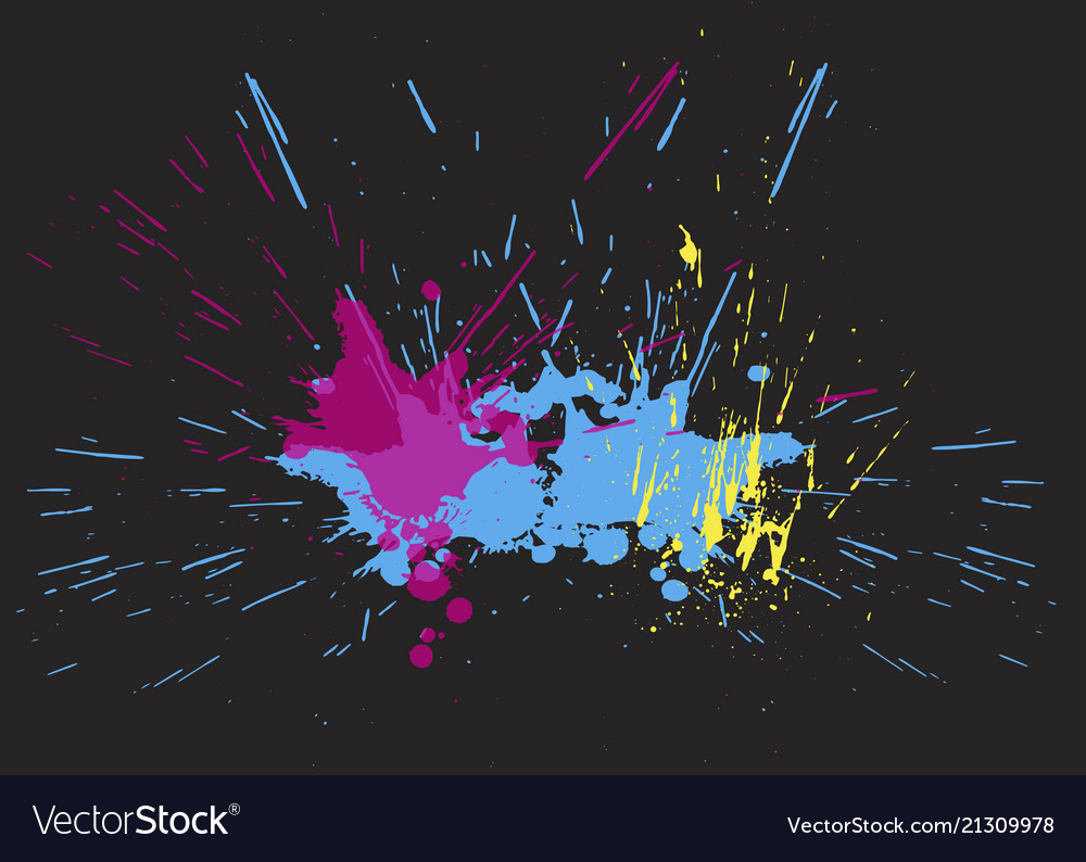 Brigh paint spots on a black background abstract