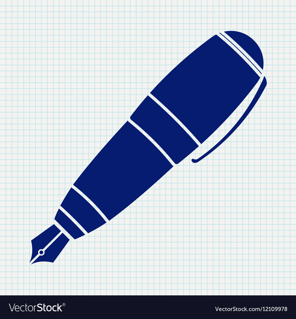 Fountain pen icon on notebook sheet background