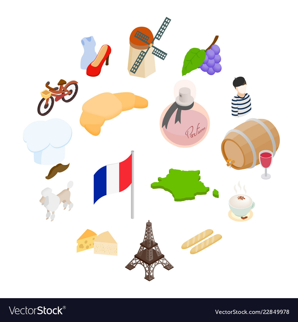 France isometric 3d icons