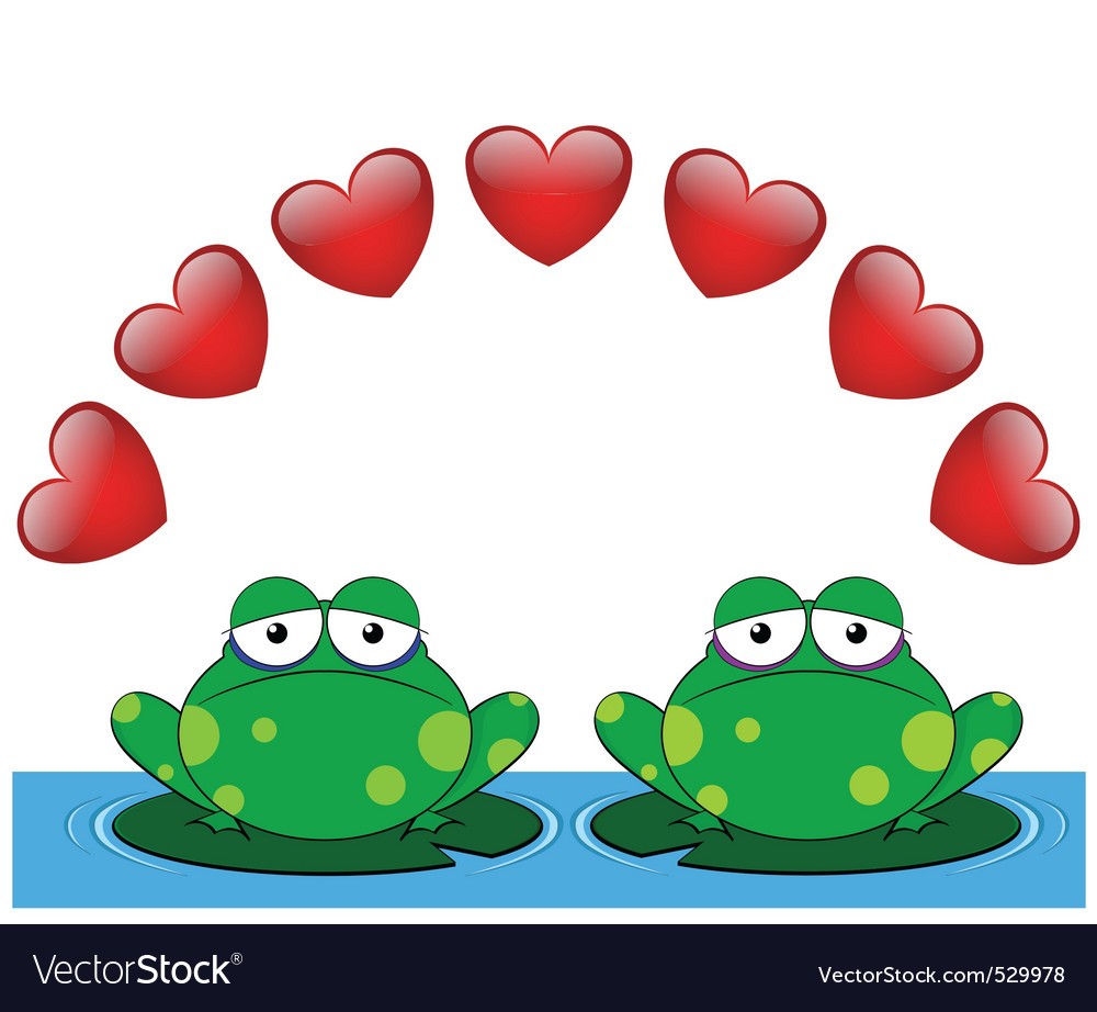 frog valentine lovers royalty free vector image rh vectorstock com Leaping Frog Clip Art Frog Silhouette