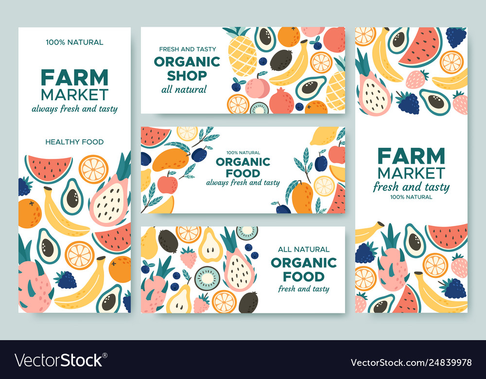 Fruit banner summer fruits organic food menu and