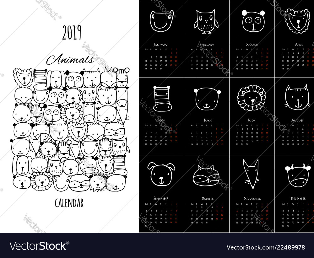 Funny animals calendar 2019 design