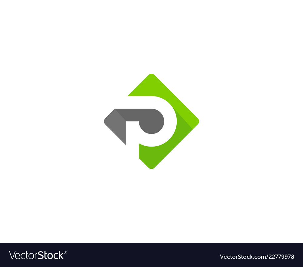 green letter p logo icon design vector image