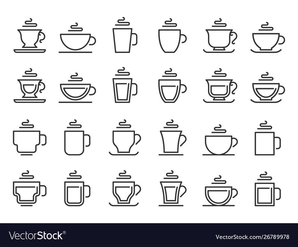 Hot drink cup outline icon coffee cups line
