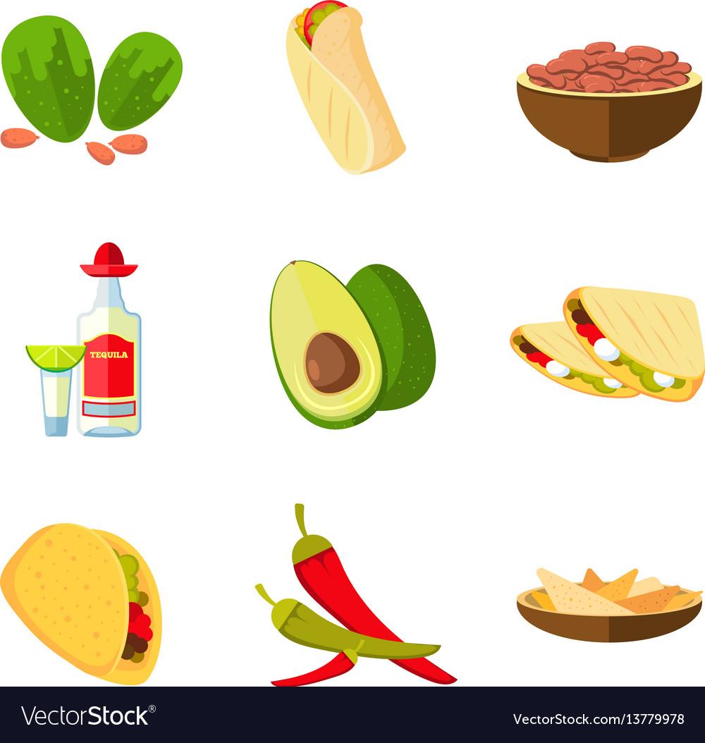 Mexican taco burrito and nachos food avocado