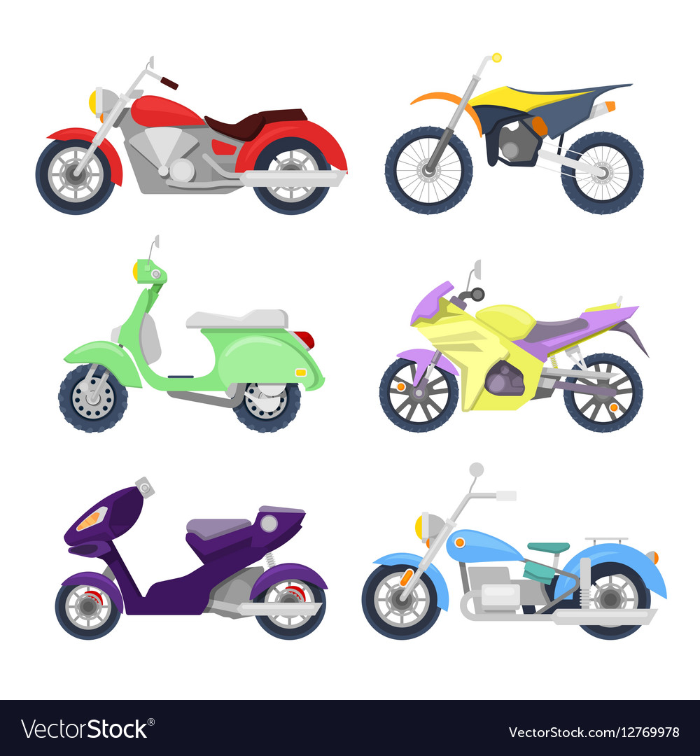 Motorcycles Icons Set with Retro Sport Bike
