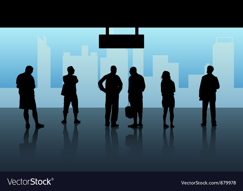 People waiting skytrain vector image