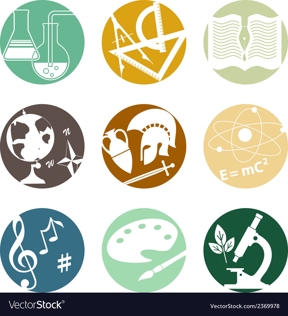 school subjects icons royalty free vector image