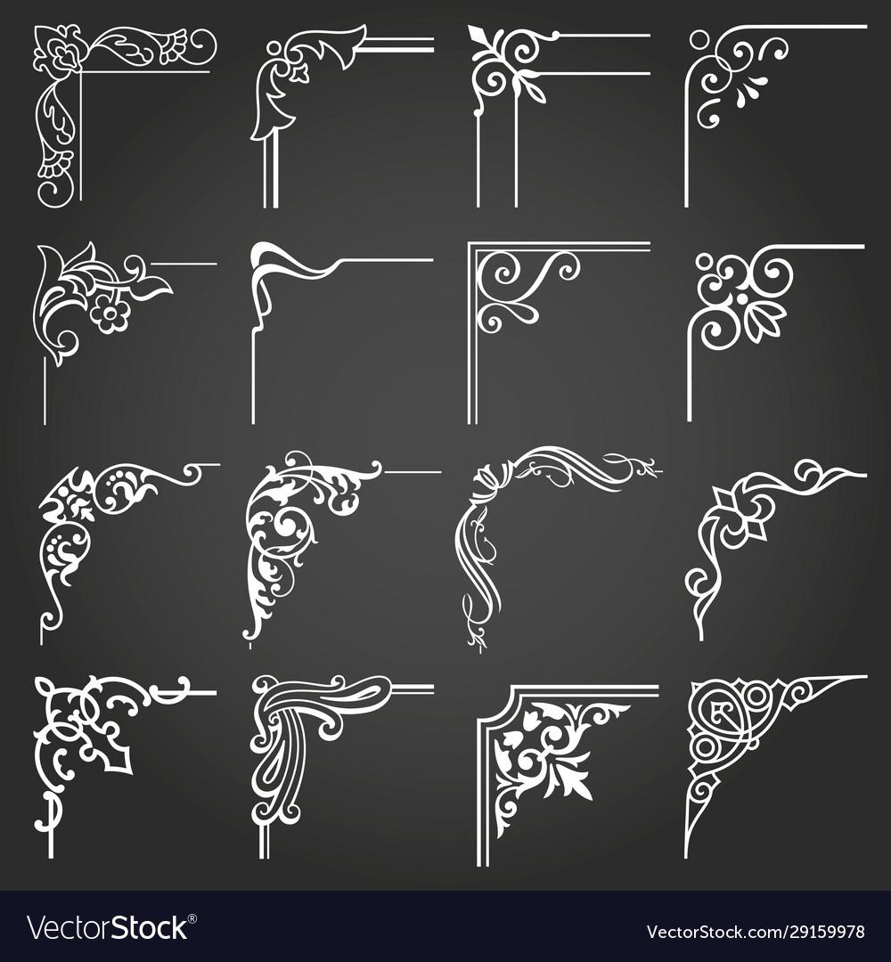Vintage design elements corners and borders set 5