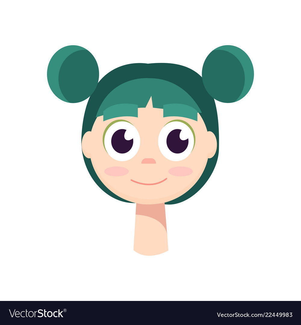 A young girl with big black eyes and green hair
