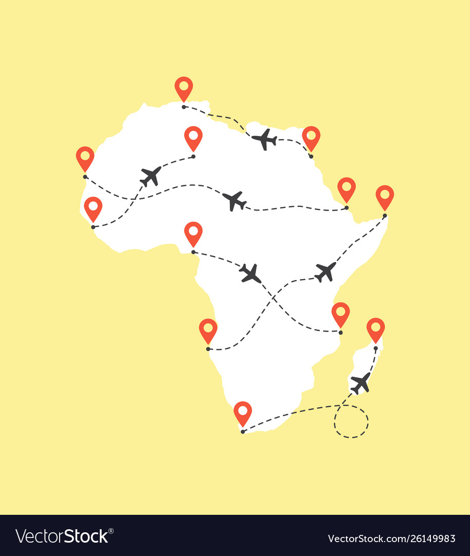 Africa map with airplane flight paths on a yellow