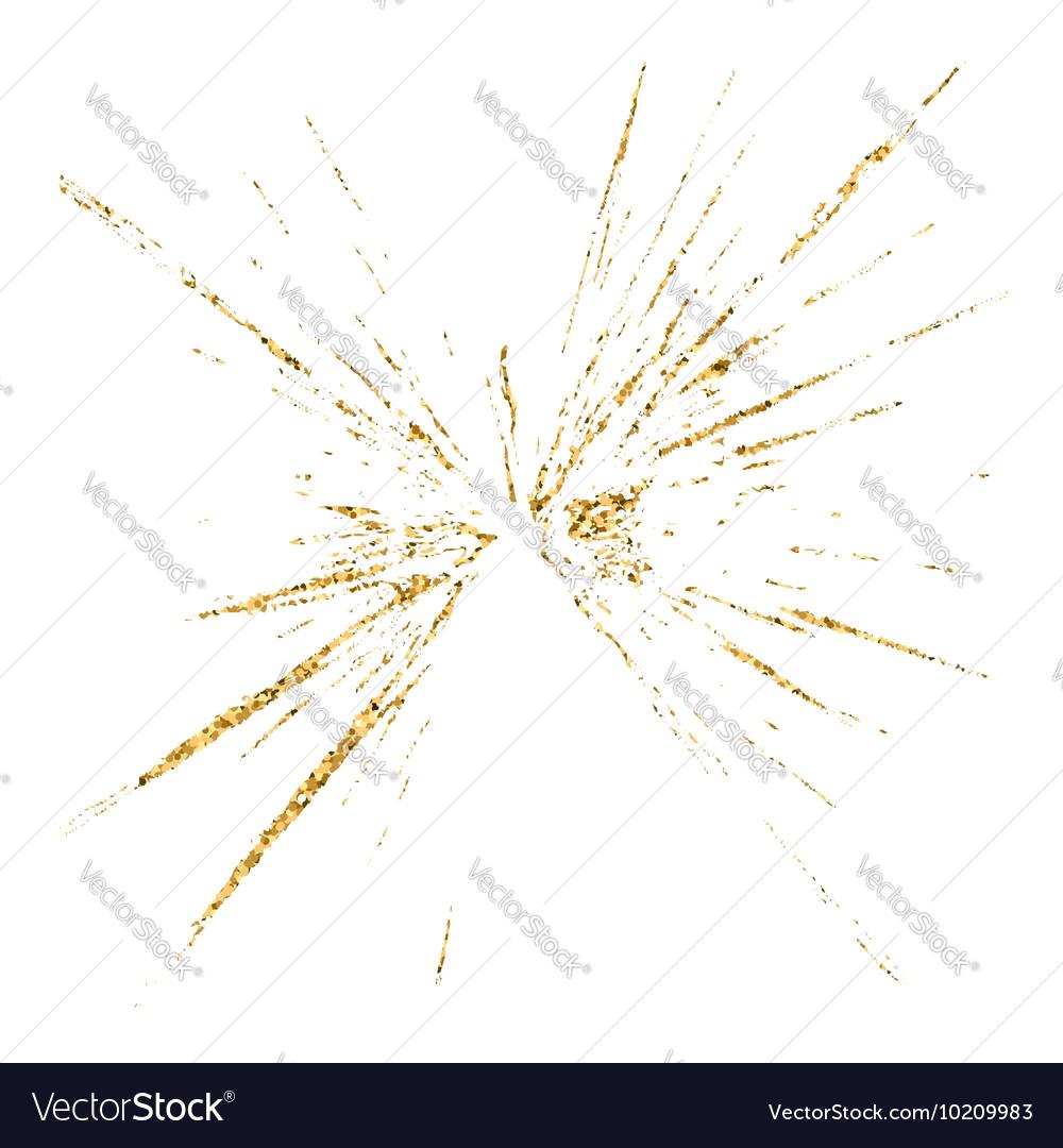 Broken glass hole grunge texture gold white