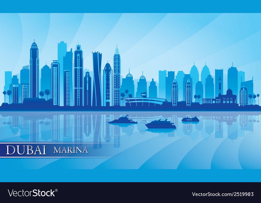 Dubai Marina City skyline silhouette background vector image