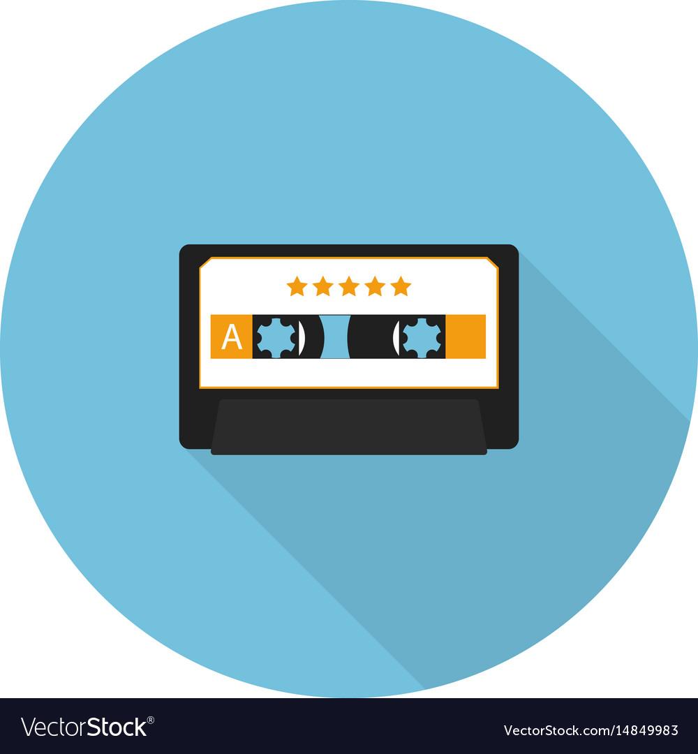 Flat music audio cassette vector image