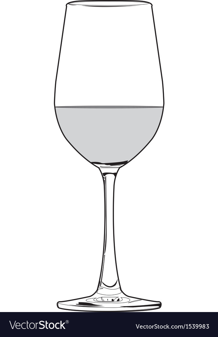 Glass of wine outline vector image
