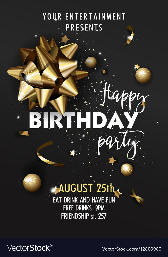 happy birthday invitation poster template vector image