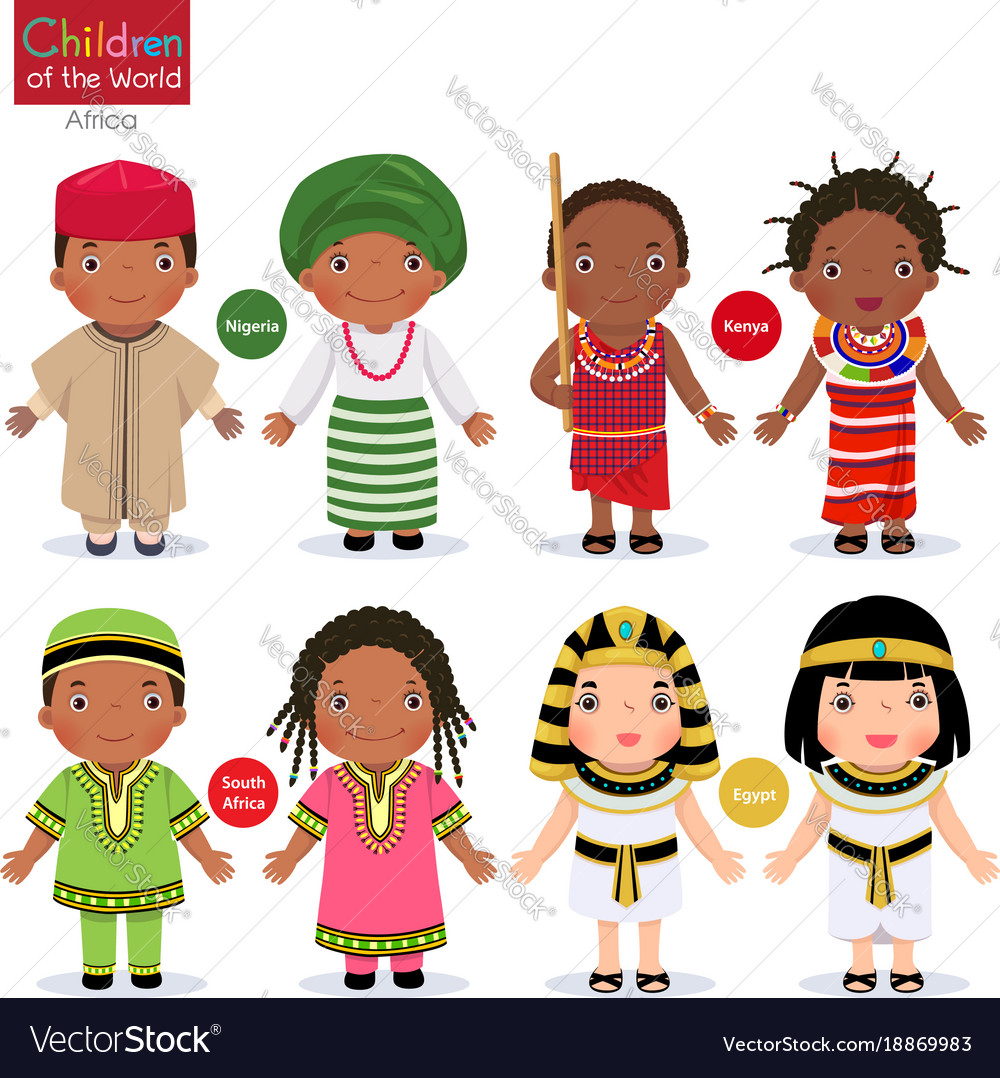 Kids in different traditional costumes nigeria