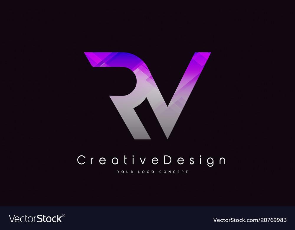 rv letter logo design purple texture creative vector image