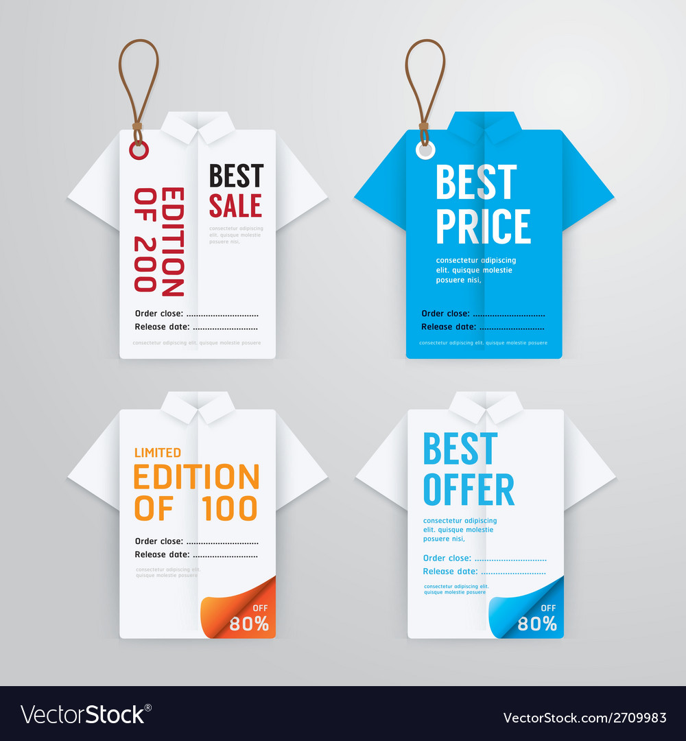 Sale banners price tag paper card template Vector Image