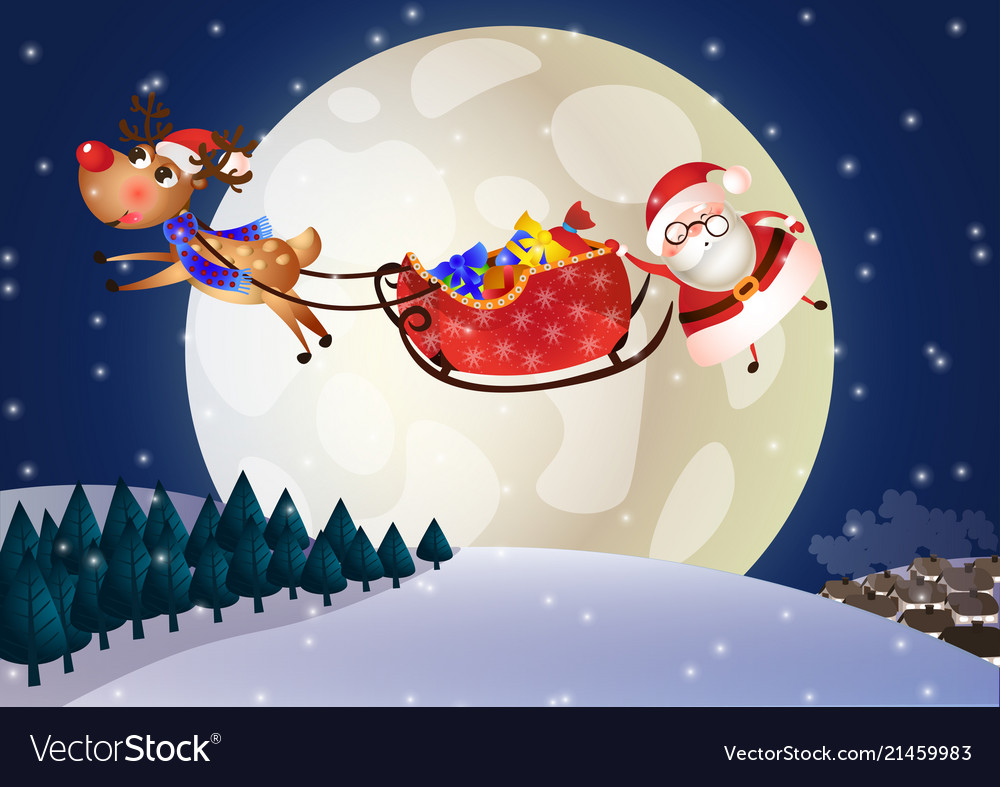 Santa claus on a sleigh with deer at night