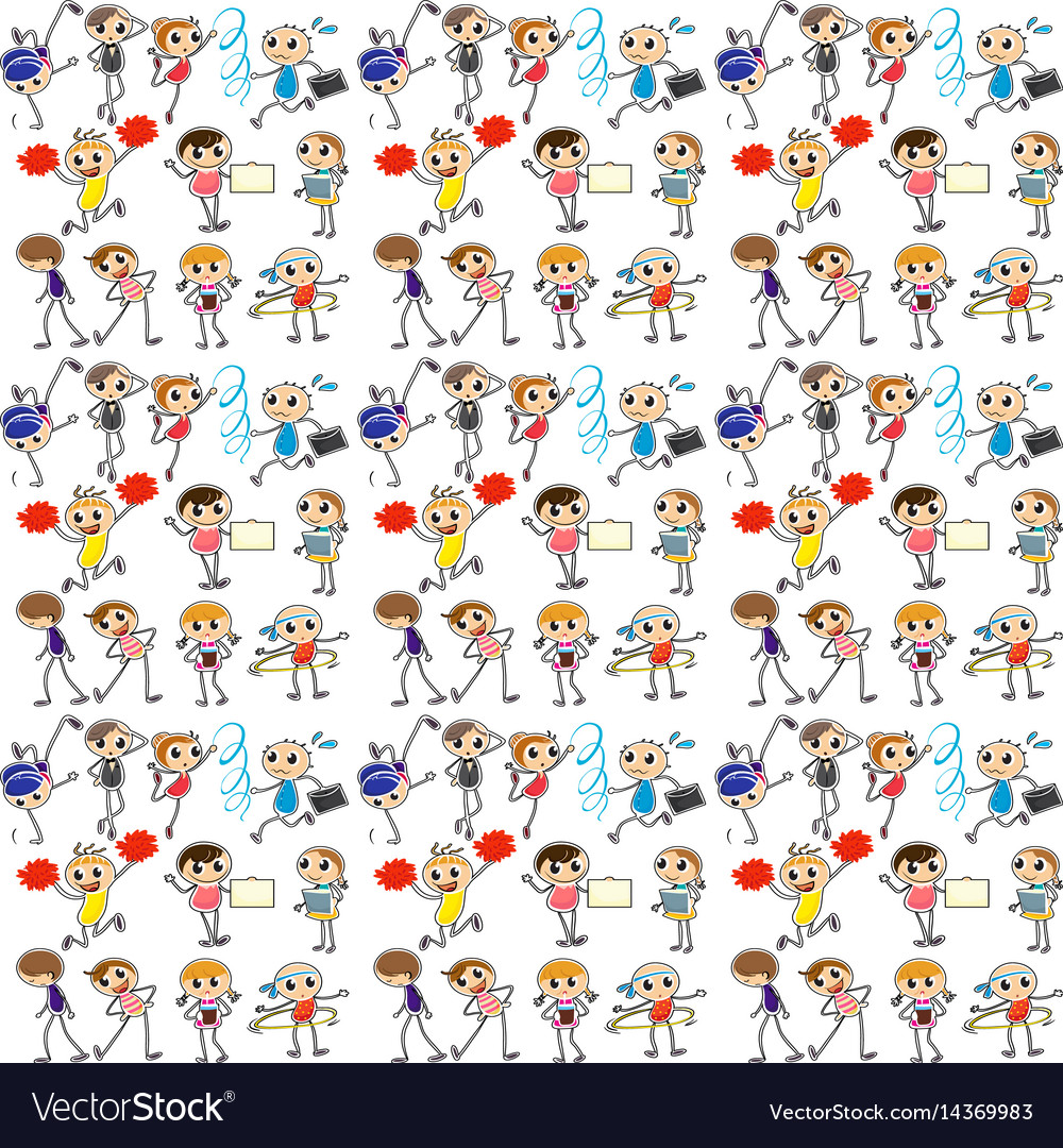 Seamless background with kids exercise vector image