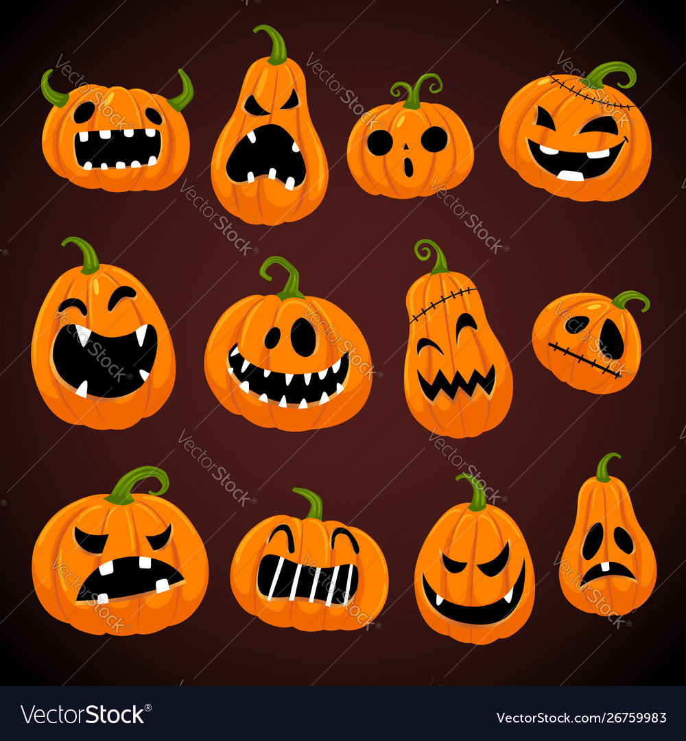 Set halloween pumpkins with different faces