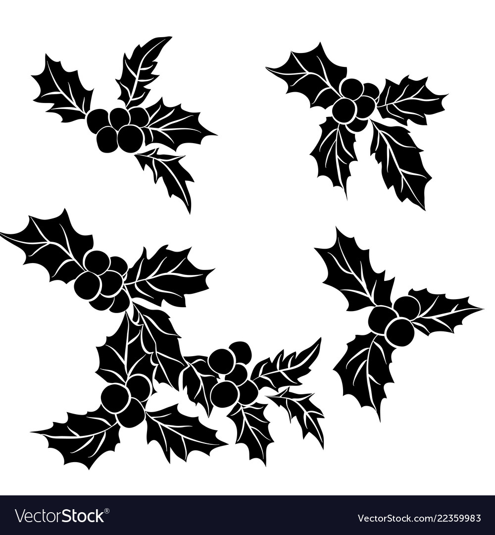 Christmas Holly Silhouette.Set Of Christmas Holly Leavesblack Silhouette Of