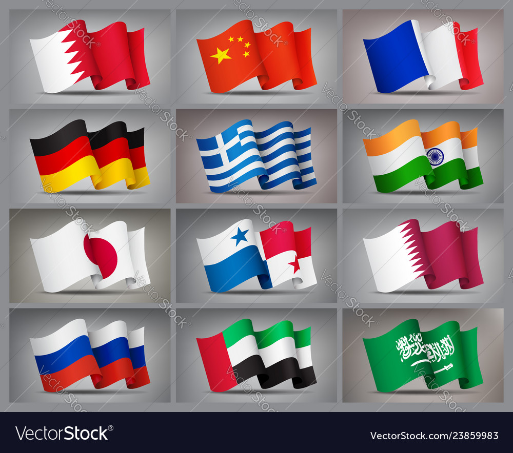 Set of waving flags icons isolated official
