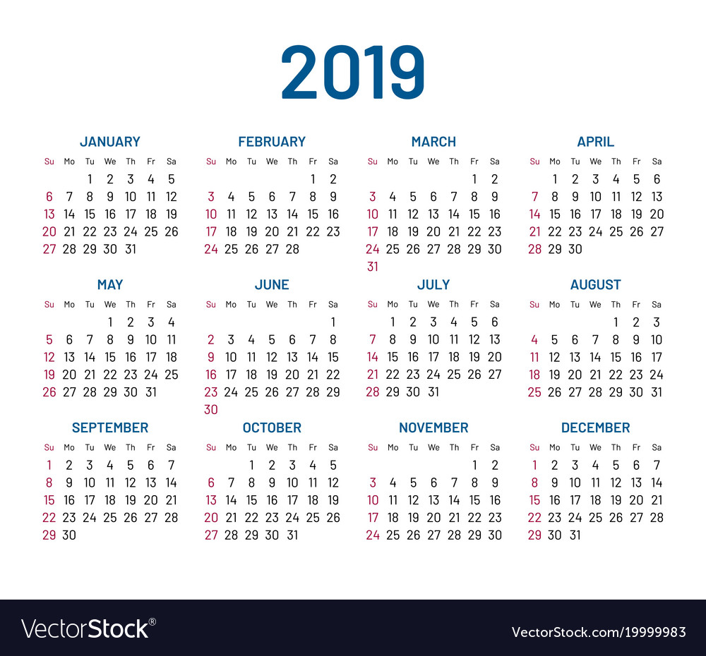 Wall Calendar 2019 Simple wall calendar 2019 year flat isolated Vector Image