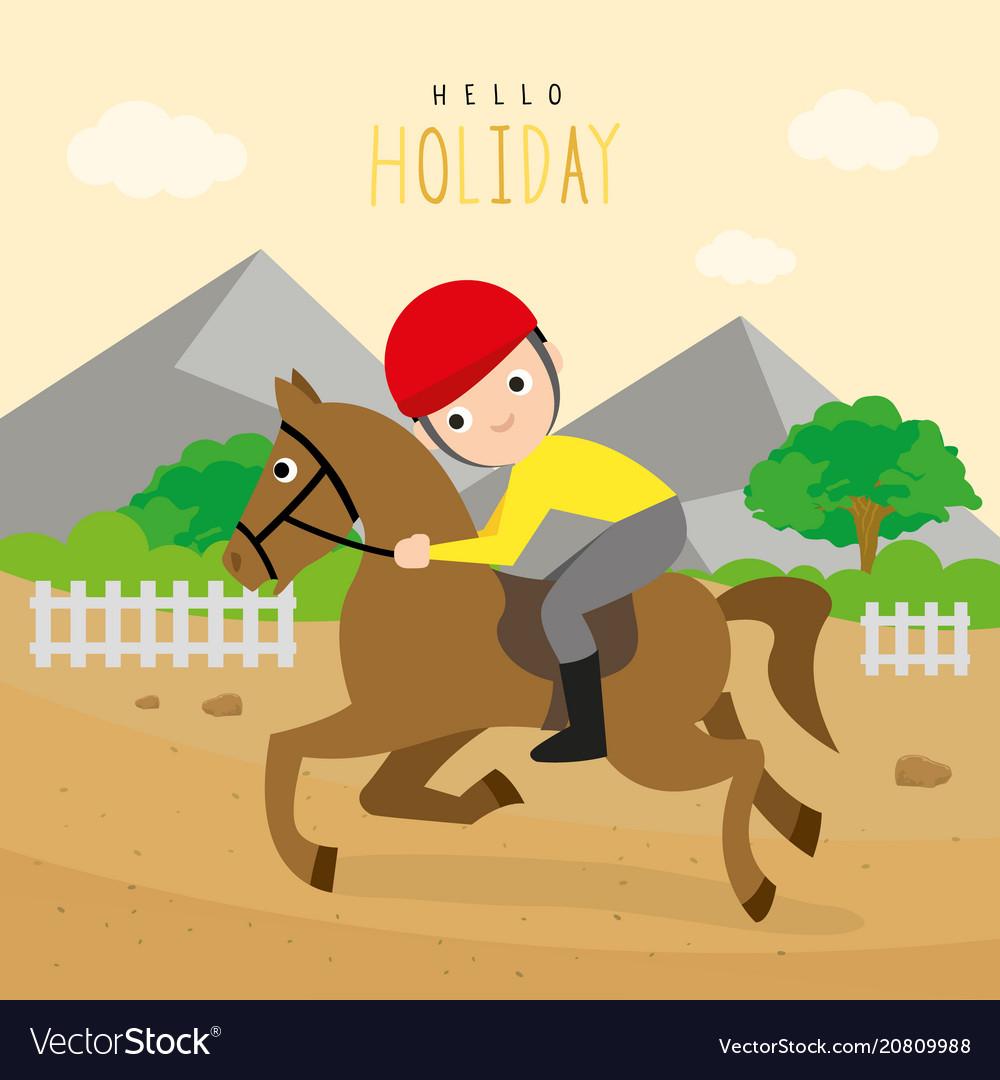 Boy ride racehorse sport outdoor cartoon