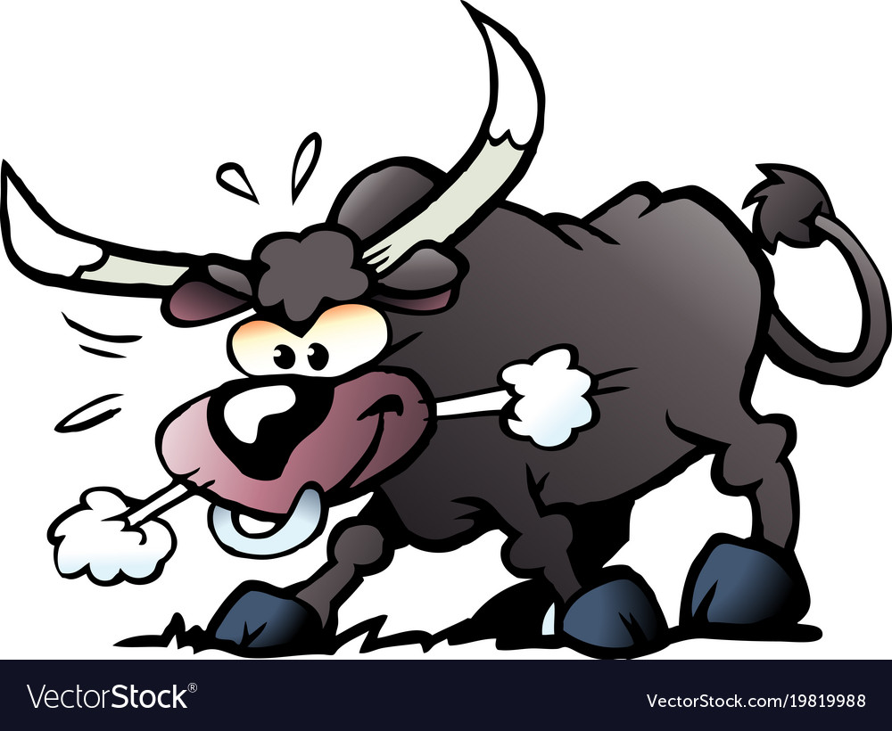Cartoon of a crazy and angry bull
