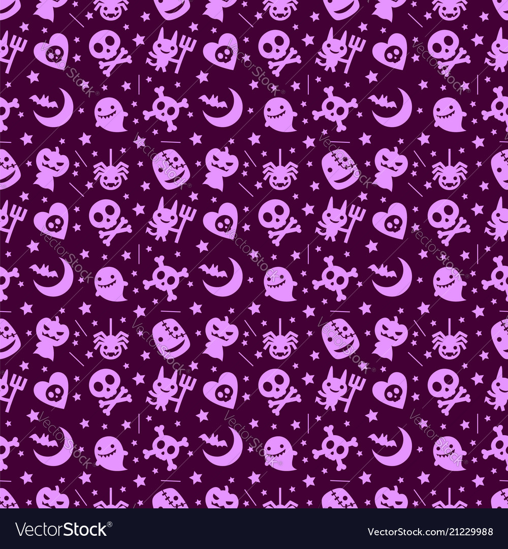 Cute halloween pattern background with purple