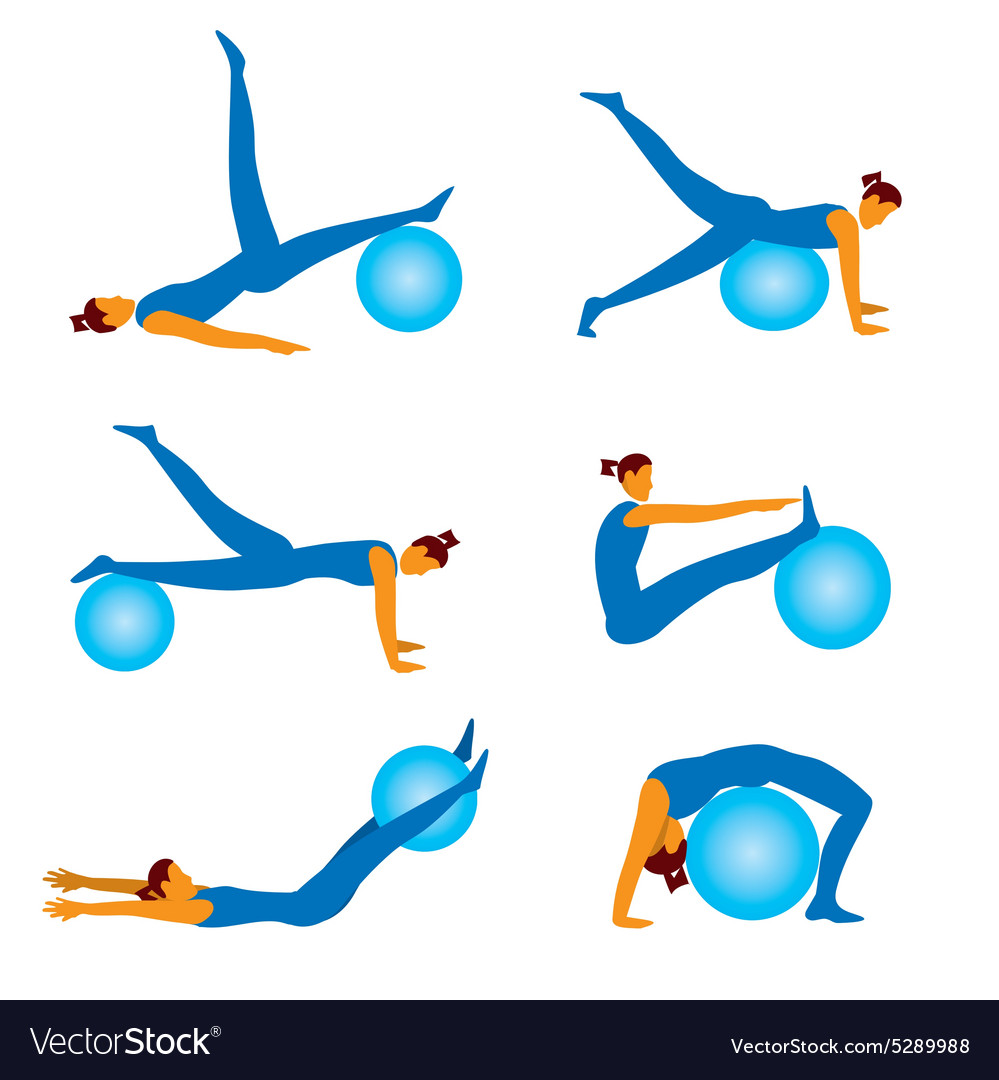 Fitnees icons with ball
