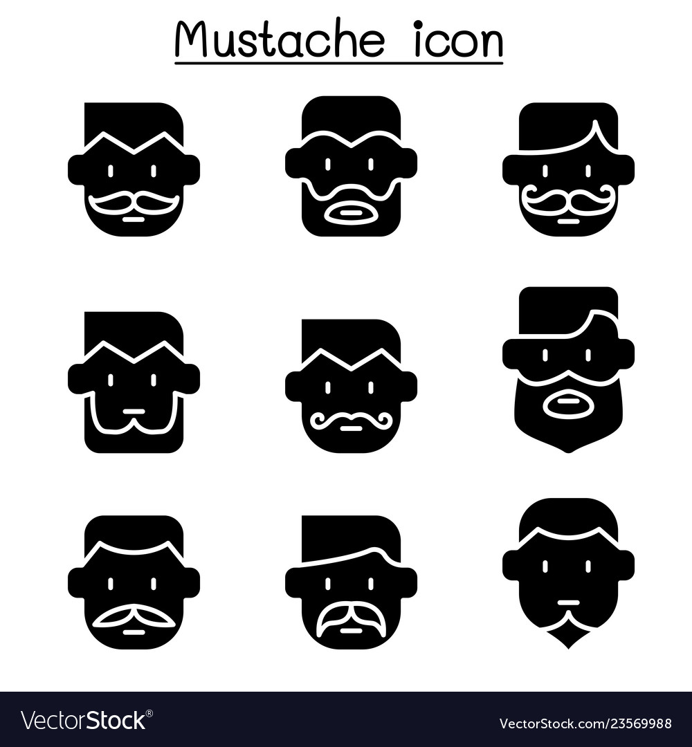 Mustache icons set in flat style