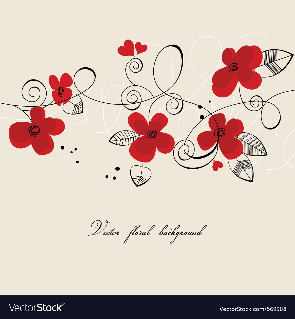 Red flowers composition vector image
