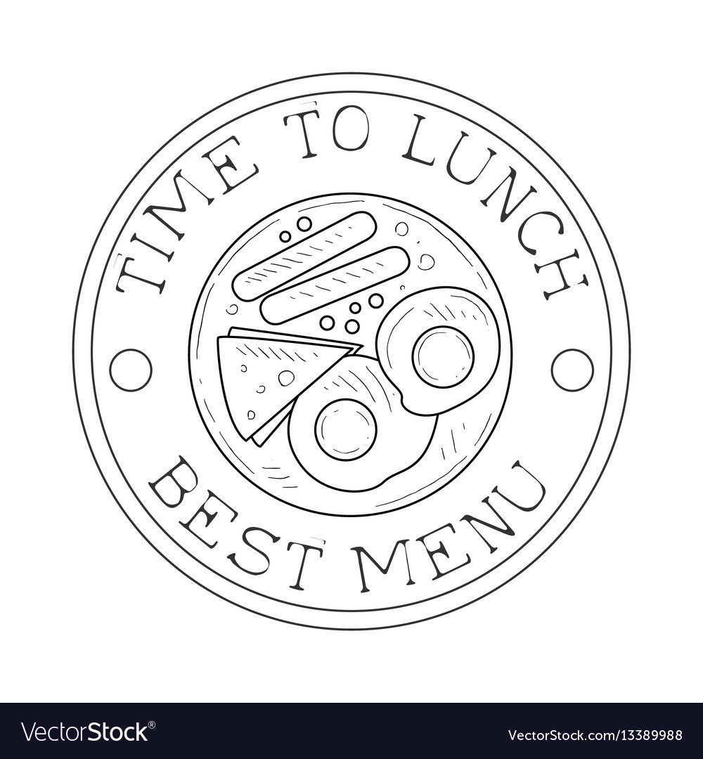 Round frame cafe lunch menu promo sign in sketch