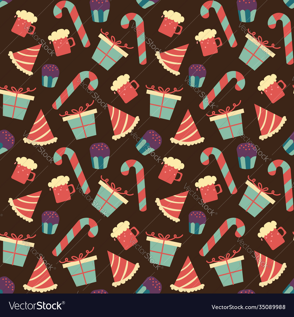 Seamless chocolate pattern with sweet candy in